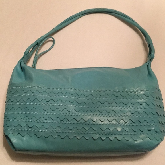 Sigrid Olsen blue leather shoulder bag